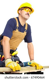 Mature contractor  working. Over white background