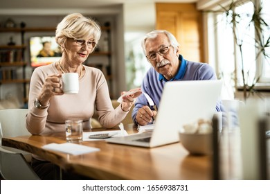 Mature couple analyzing their financial bill while paying them over computer at home.