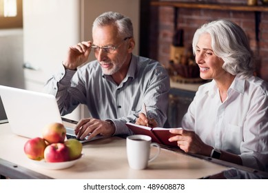 Mature couple doing internet research