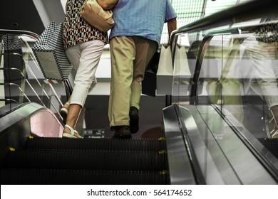 Mature couple enjoying shopping around