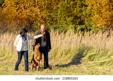 Mature couple playing with retriever dog sunny autumn countryside