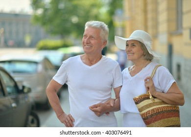 Mature couple in town