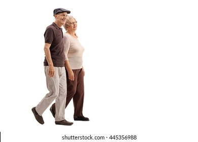 Mature couple walking together and smiling isolated on white background
