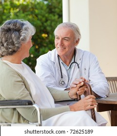 Mature doctor with his senior patient