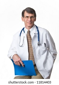 Mature Doctor/Physician with lab coat and stethoscope; white background
