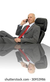Mature executive calling a younger man for job offer isolated in white
