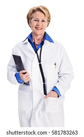 Mature female doctor in white lab coat, holding a digital tablet