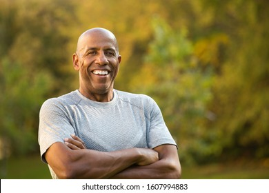 Mature fit African American man.