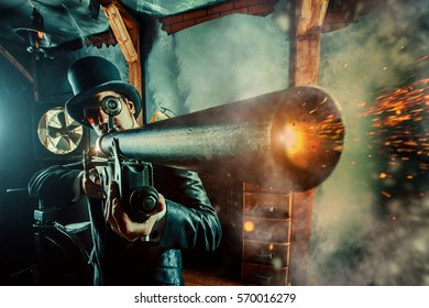 Mature gentleman with a rifle on the dark room background.