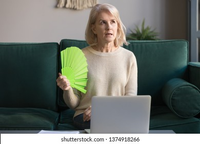 Mature grey haired woman suffering from heat stroke, sweating, high temperature at home, sitting on couch, waving fan, using laptop, middle aged female cooling in hot weather, feeling uncomfortable