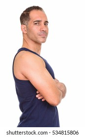 Mature handsome Persian man getting ready for gym