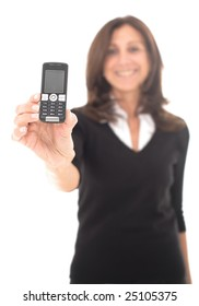 Mature happy businesswoman isolated over white background holding a cell phone