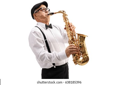 Mature jazz musician playing a saxophone isolated on white background