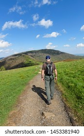 Mature Male Hiking on Appalachian Trail on Sunny Day
