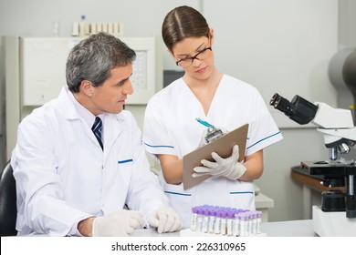 Mature male scientist working with colleague in medical laboratory