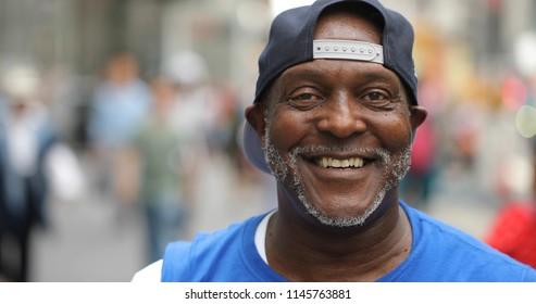 Mature man in city face portrait