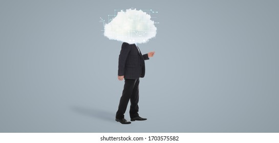Mature man with cloud on his head against grey background. Modern storage technology concept