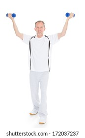 Mature Man Exercising With Dumbbells Over White Background