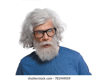 Mature man with grey hair on white background