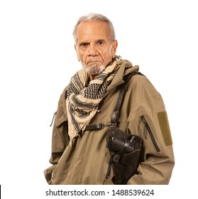 Mature man with a holstered pistol, ready for doomsday.