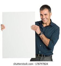 Mature Man Looking A Camera With Placard Isolated On White Background