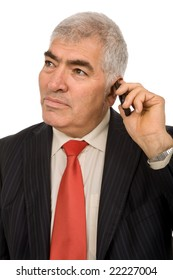 mature man on the phone in white background