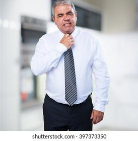 mature man overwhelmed