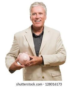 Mature Man With Piggy Bank Isolated On White Background