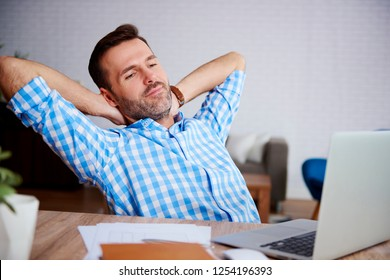 Mature man resting in his office