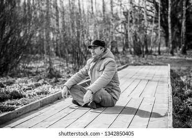 Mature man with a sad philosophical mood. The concept of life after 50 years, problems and depression