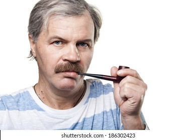 mature man with smoking pipe isolated on white background
