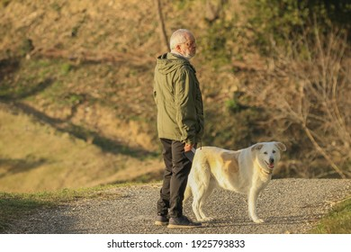 Mature man in sportswear with shepherd dog in the countryside.