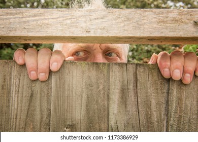 Mature man spying through a wooden fence in the garden