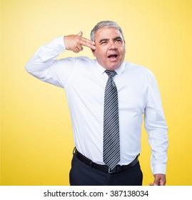 mature man sucide gesture