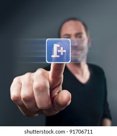 Mature man tapping a social network icon