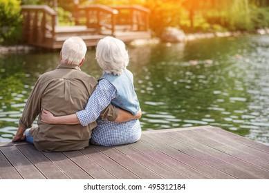 Mature man and woman enjoying nature