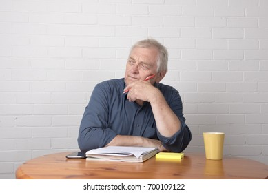 Mature man with worried facial expression, working with papers and notes