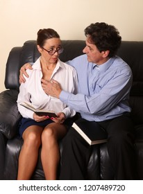Mature married couple having an intimate private time at home