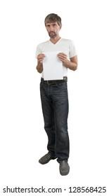 mature men shows blank sheet of paper