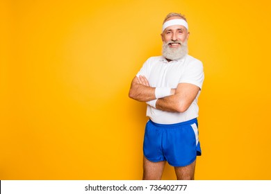 Mature modern cool grey haired macho competetive pensioner grandpa, leader, champion. Bodycare, healthcare, weight loss, pride, strength, leadership, motivation, advertising, happiness lifestyle
