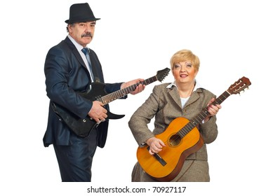 Mature musicians band playing guitar isolated on white background