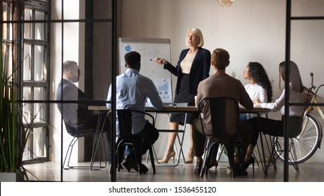 Mature older businesswoman mentor coach training speaker give flip chart business presentation at company meeting, confident female executive manager teaching team consult clients at office workshop