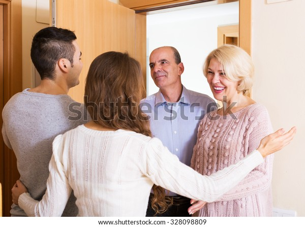 mature people coming to visit adult kids at new flat