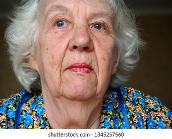 Mature sad pensive woman face