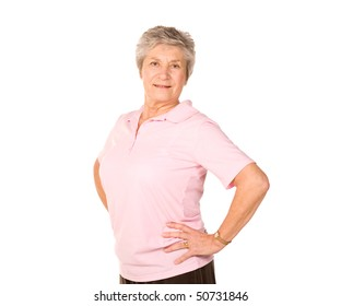 Mature senior lady performing stretching exercises before gym workout