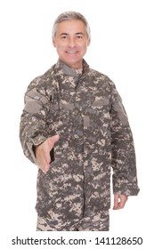 Mature Soldier Extending Hand To Shake Isolated On White Background