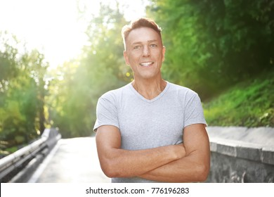 Mature sporty man outdoors