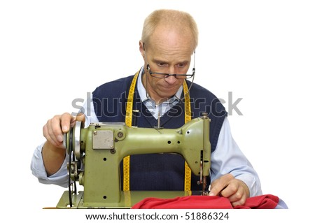 Mature Tailor Sewing Machine Isolated White Stock Photo Edit Now Enchanting Tailor Sewing Machine