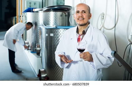 Mature winery worker wearing coat holding glass of wine in fermenting section