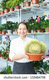 mature woman chooses cactus at flower store